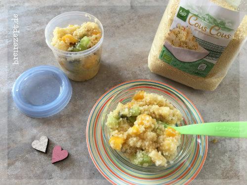 Süsser Couscous Babybrei mit Obst