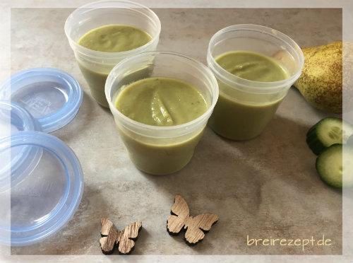 Avocado-Birnen-Brei mit Gurke