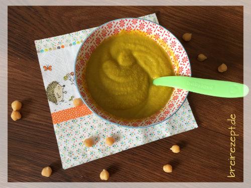 Babybrei mit Kichererbsen gelber Zucchini und Reis