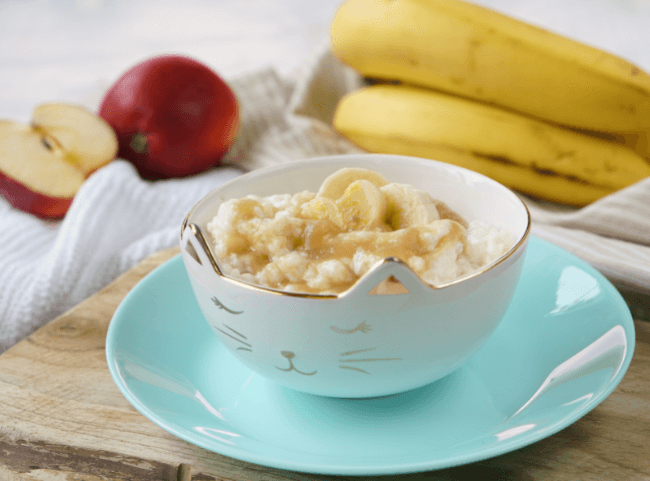 Milchreis mit Bananen-Apfel-Brei